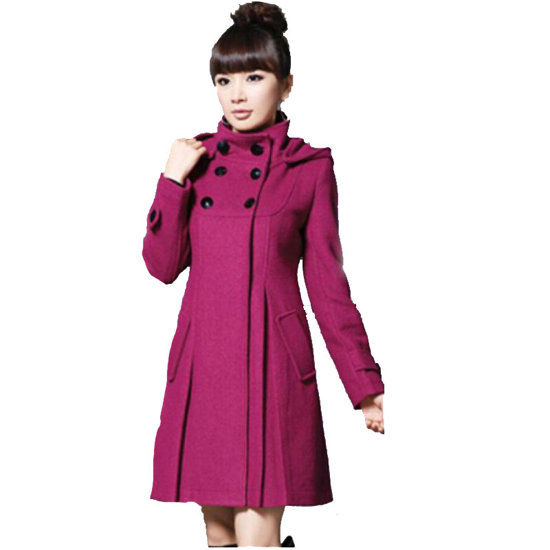 2015 New Wool Coat Women X-Long Draped Full Pockets Solid European Style Winter Coat Women Overcoat Fashion Coat ZLY248(China (Mainland))