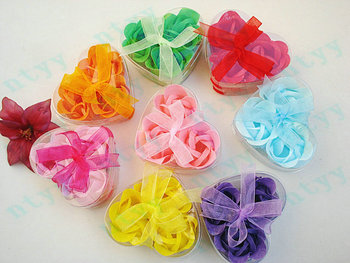 (3pcs/box) Bath Body Heart Rose Petal Soap Flowers As Wedding Gift Favor Colors Flower Soaps