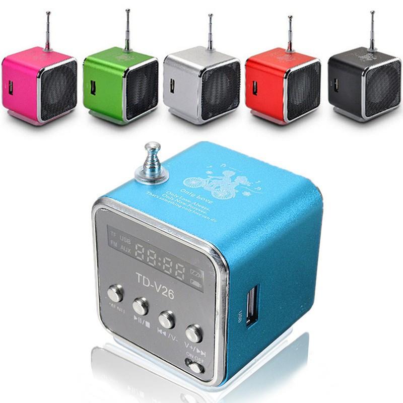 Free shipping 1PC Mini USB Micro SD TF Speaker Music Player Mini Speaker Music Player Portable FM Radio Stereo PC mp3 four color(China (Mainland))