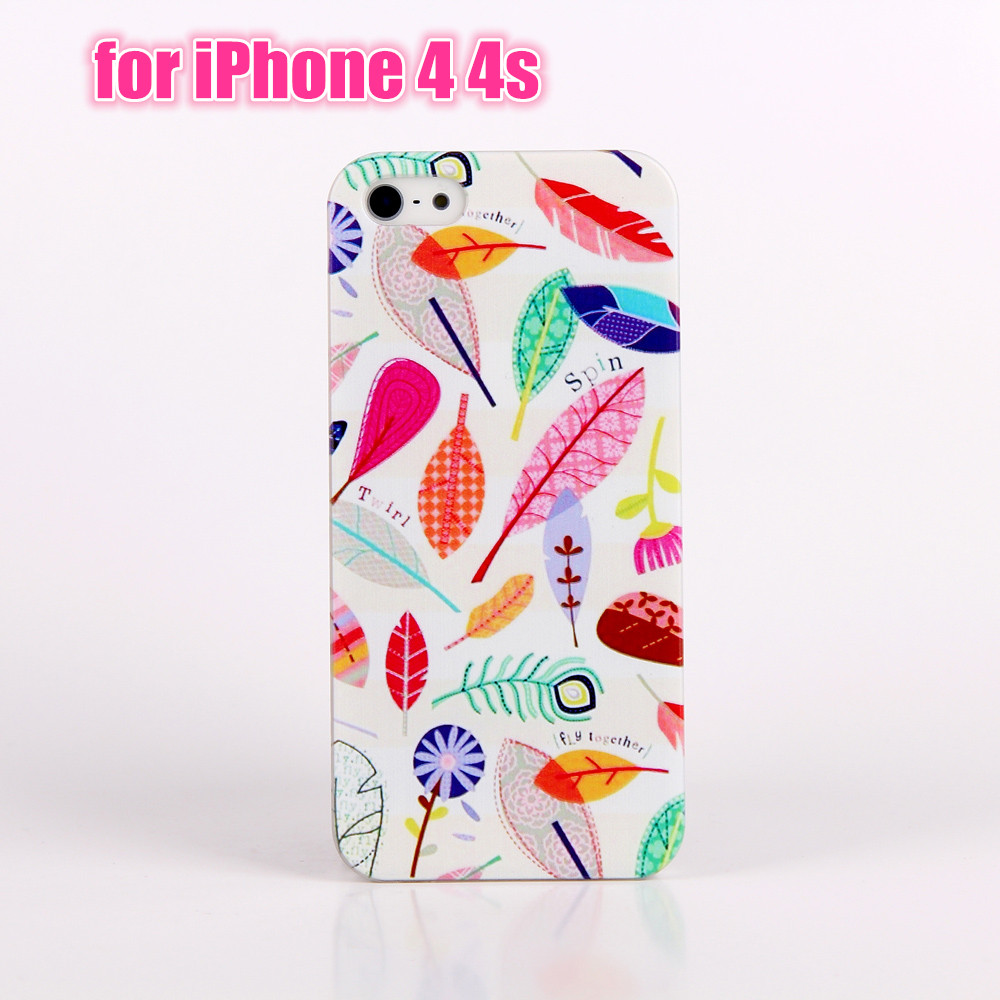 2016 Phone case For iPhone 4 4s Candy Lovely Feather Leaf Patterns Painted Hard PC back case mobile phone cover protective bags(China (Mainland))