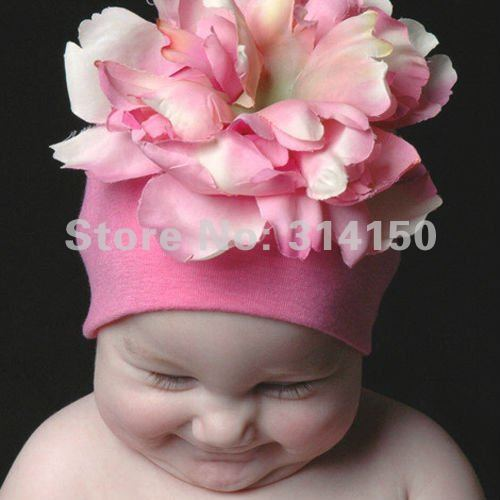 FREE SHIPPING---Lovely Pink caps with big flowers infant girls caps baby beanies infant knitting wool caps 1pcs/lot