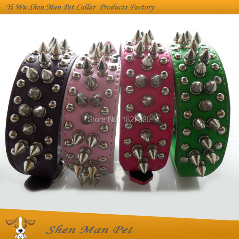 Wholesales Pet Products Green/Pink/Purple/Rose Punk Dog Collars 2015 New Style Spiked Pitbull Pu Leather Dog Collar for Animal(China (Mainland))