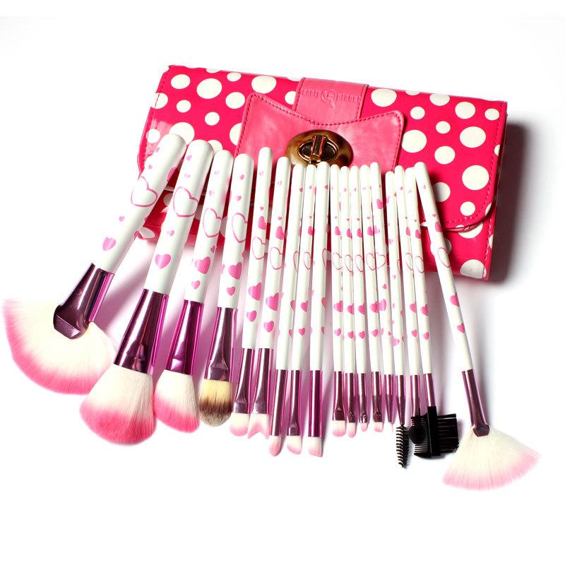 18 Pcs Pink Makeup Brush Set Kit Pincel Maquiagem Professional Superior Soft Cosmetic Cute Make Up Tools Pouch Bag Case(China (Mainland))