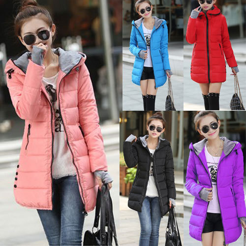 Fashion 2014 Womens Winter Casual Warm Slim Jacket Female Cotton Hooded Coat Women Parka Outerwear Large