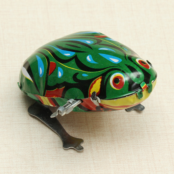New Arrival Funny Wind Up Jumping Frog-Shape Classic Toy Clockwork Spring Tin Hopping Toys For Children With Key Classic Gift(China (Mainland))