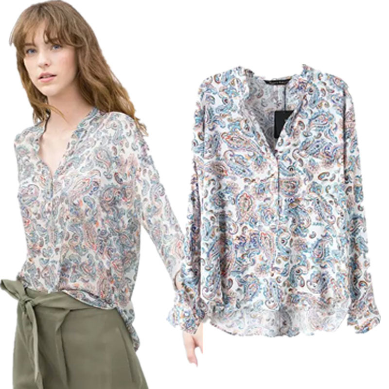 spring and summer 2015 hot cashew printed shirt ms v-neck shirt on sale Fashion sexy Discount promotion cheap clothes china(China (Mainland))