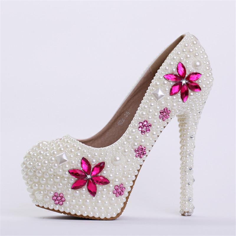 New handmade fashin ivory wedding shoes round toe crystal for Heels for wedding dress