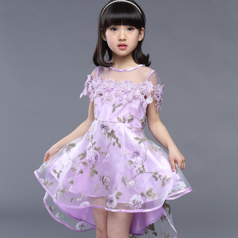 Girls Dress 2016 Summer New Cuhk Children's Princess Dress Girl Child Floral Dress Glass Sand Dovetail Dress(China (Mainland))