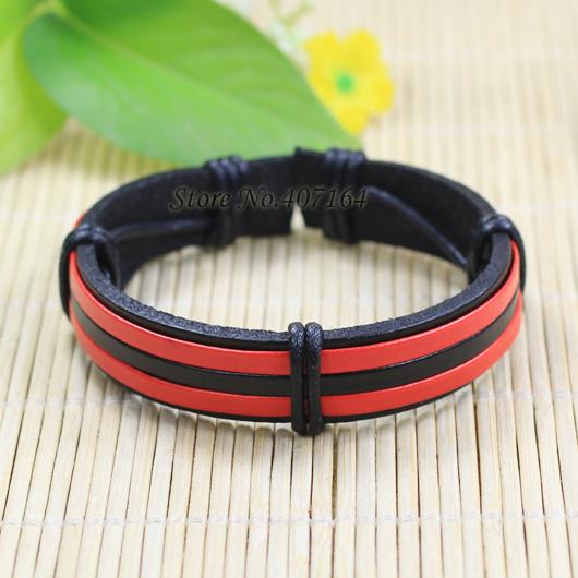 SF190- Fashion Black&Red Bangle Braided Genuine Leather Bracelet Wrap Men Casual Bracelets Women - SunFlower Trade Co.,Ltd store