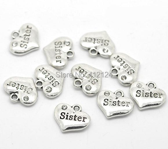 300Pcs Silver Tone Charm Pendants Rhinestone Sister Heart Shape Jewelry Making Component 16x14mm<br><br>Aliexpress