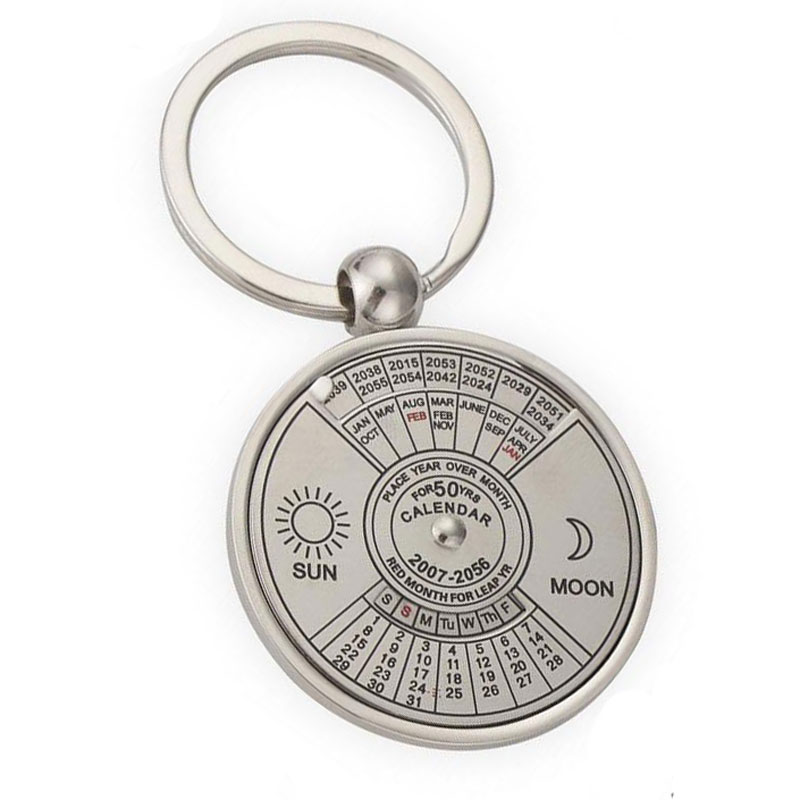 Silver Color 50 Years Super Perpetual Calendar Key Chains Rings Astrology KeyChains Car Bag Pendant Keyring Holder Gift Jewelry(China (Mainland))