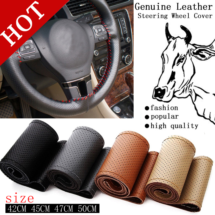Hot Truck Bus Genuine Leather Steering Wheel Cover, 42cm 45cm 47cm Car,DIY Handmade Case With Needles and Thread Free Shipping(China (Mainland))