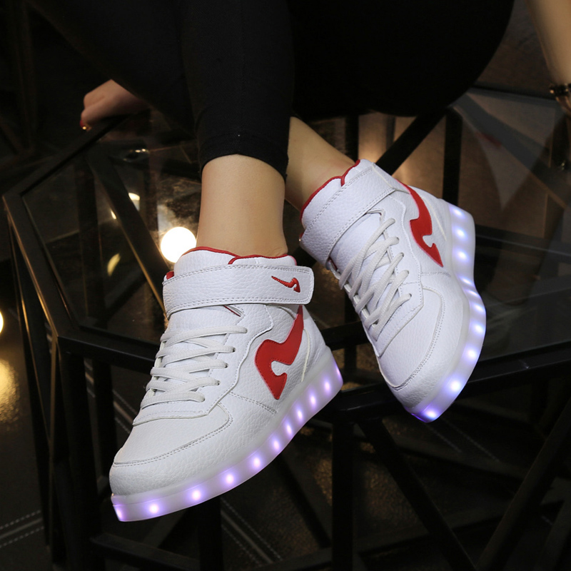 2016 New USB LED big colored children boys permanent load light kids running shoes Chaussure enfant size35-42