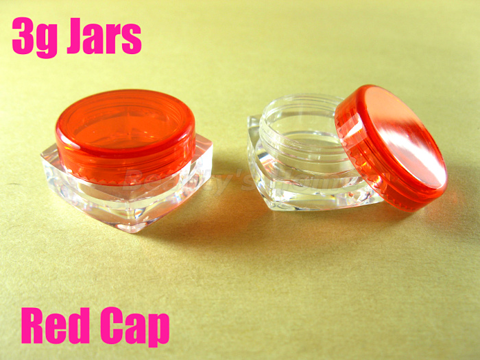 3g red cap square jars cosmetic cream make jar refillable bottle Empty Bottle #1956 - Packing Supplier(Bottles and Jars store)