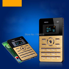 Q1 Ultra-thin 4mm Mini Pocket Phone Card Mobile Phone Bluetooth MP3 FM Radio SMS Capacitive Touch Keypad
