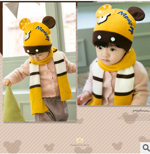Winter Baby Hat and Scarf Crochet Knitted Caps for Infant Boys Girls Children New Fashion Kids Neck Warmer(China (Mainland))