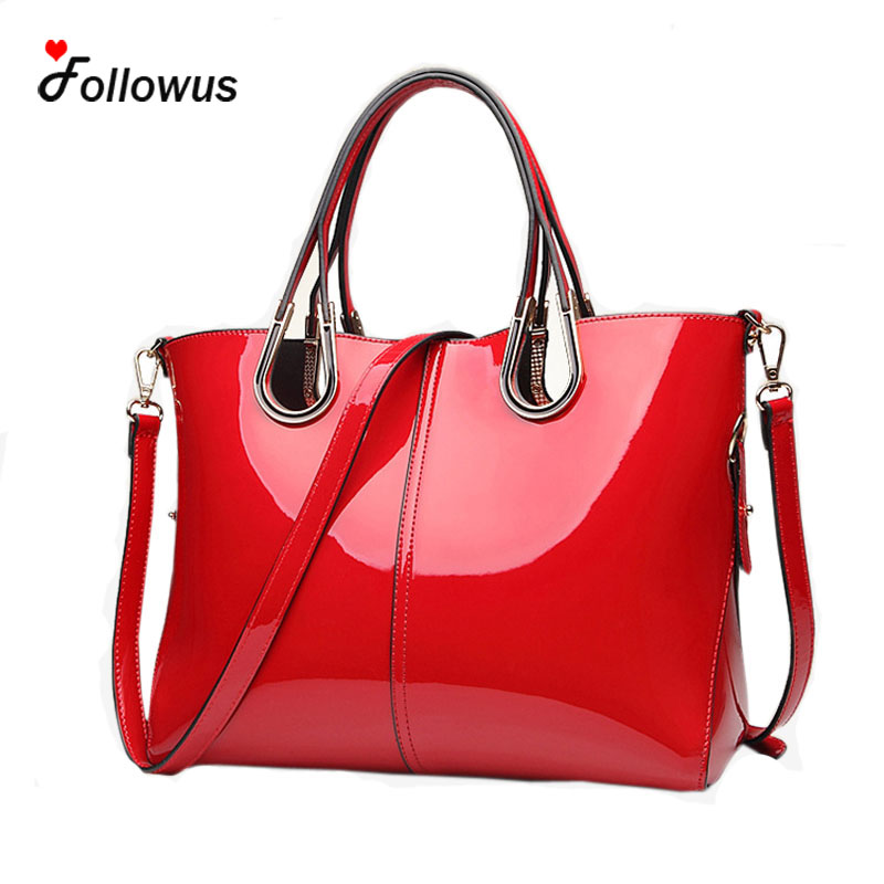 2016 Patent Leather Women Business Messenger Bags 7 Solid Colors New Fashion Tote Handbag Bolsas Feminina(China (Mainland))