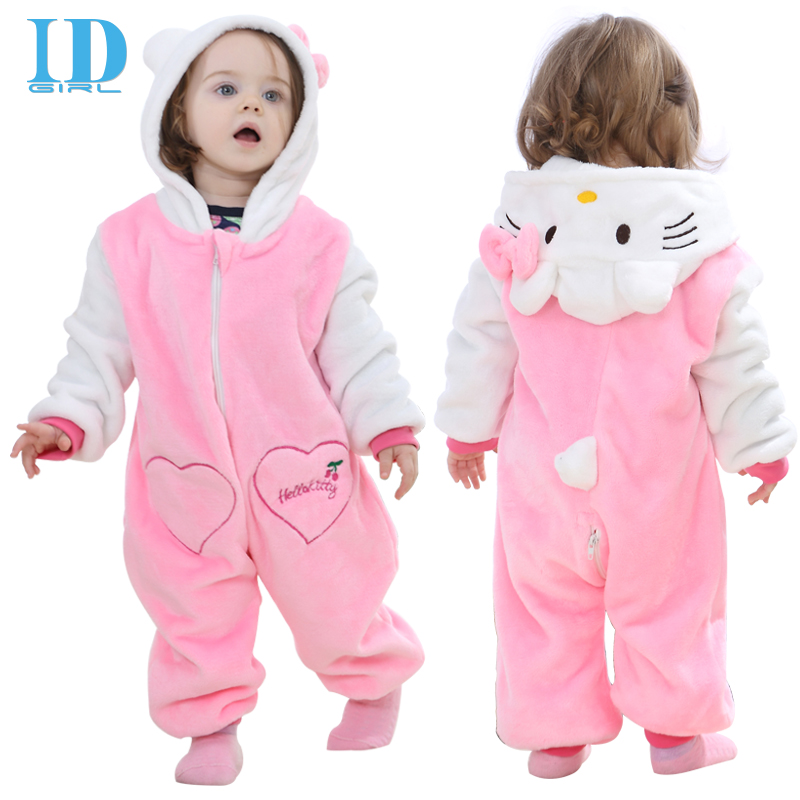 IDGIRL Hot New Baby Girl Clothes Cotton Flannel Quilted Jumpsuit Cartoon Animal Hello Kitty Rompers Baby Clothing JY0526(China (Mainland))