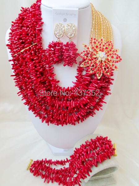 Marvelous Nigerian Bead Necklaces Wedding Champagne Gold Crystal Red Coral Beads Jewelry Set African Beads Jewelry Set CWS1062<br><br>Aliexpress