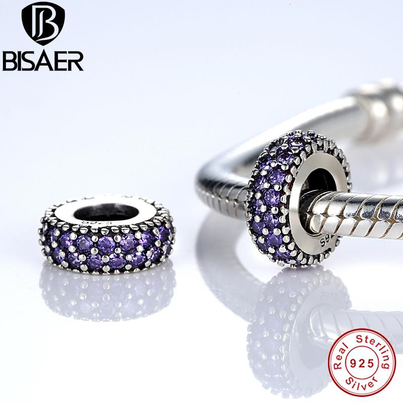 BISAER 2015 New Gift Charms Original Bracelet Pure 925 Silver Inspiration Within Spacer, Purple CZ Beads PAS123(China (Mainland))
