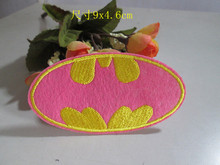 Buy 9*4.6cm Fashion pink cartoon Batman patch embroidered iron patches DK garment Appliques accessory free 20pcs/lot for $10.90 in AliExpress store