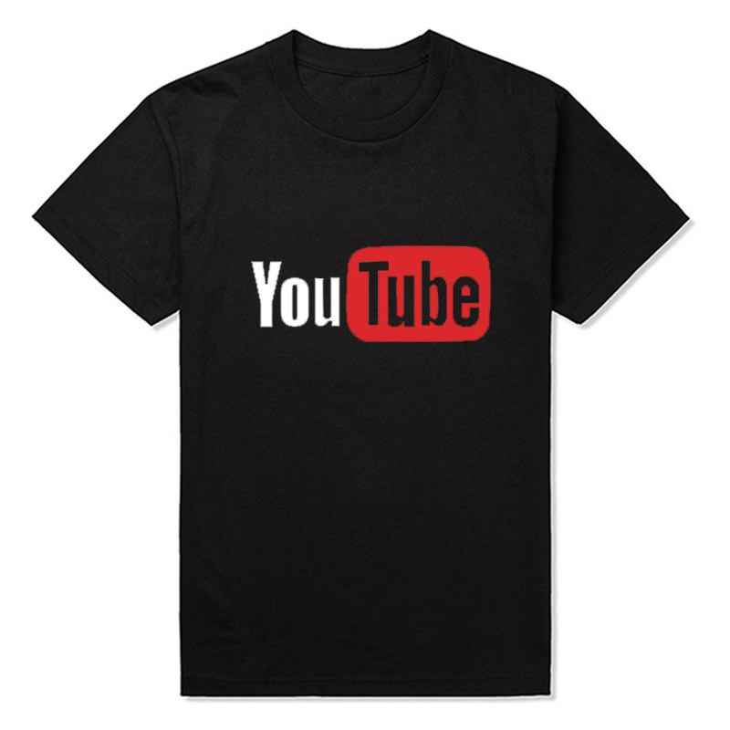 fashion t shiry YouTube Logo Print Men T-shirts Men Brand Tops High Quality Cotton T-shirts rock Street skateboarding clothes(China (Mainland))