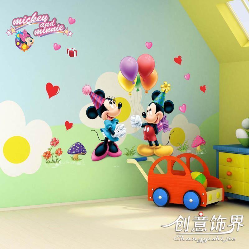 Flat cartoon muurstickers drie generaties van kind ofhead kamer decoratie mickey donald duck in - Kamer originele kind ...