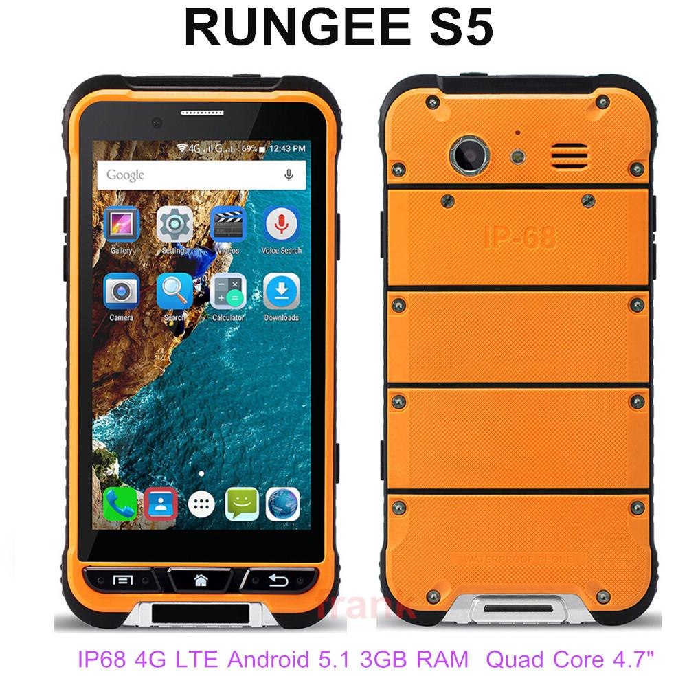 "Original 4G LTE RunGee S5 IP68 Waterproof Phone 4.7"" 3GB RAM 32GB ROM 8MP Quad Core NFC GPS smartphone Dual SIM Thin cellphone(China (Mainland))"
