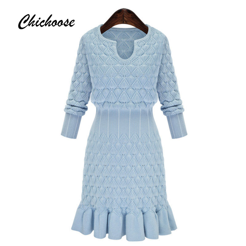 Simple Knit Dress Pattern : Simple Long Sleeve Women Dress 2016 Autumn Winter Dress Diamond Pattern Knit ...