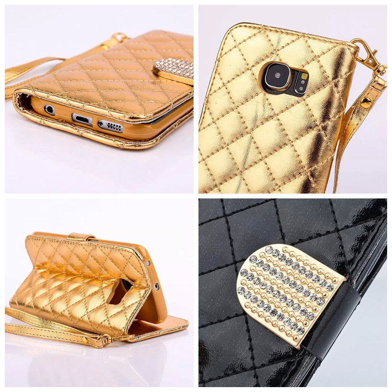 Luxury Checkered Sheep Square Quilted Wallet Leather For Samsung Galaxy Note 5 S6 Edge Plus Bling Diamond Holder Strap Pouch 1PC(China (Mainland))