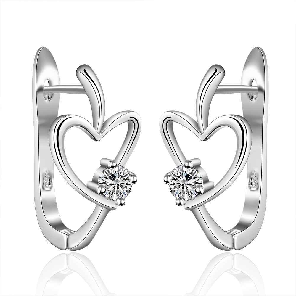 Simple Fashion Style Silver plated heart U stud Earrings Jewellery mens 2014,Wholesale&Free shipping, SMTE603(China (Mainland))