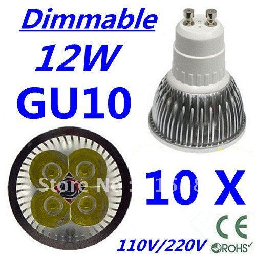 10pcs CREE Dimmable LED High power GU10 4x3W 12W led Light led Lamp led Downlight led bulb spotlight Free shipping