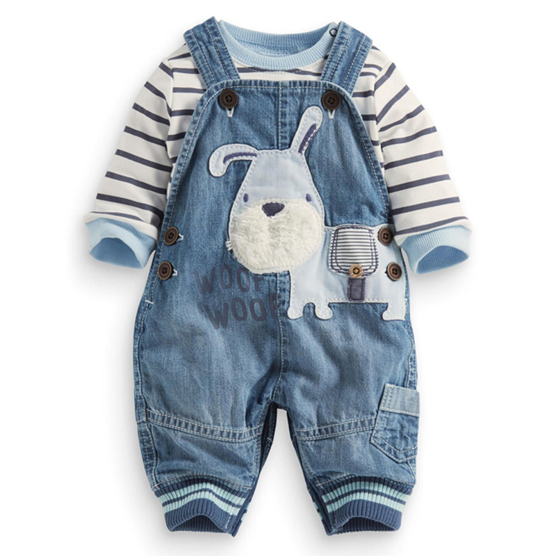 kids clothes baby boys clothing set striped t-shirt + overalls infant boys clothes toddler cotton shirt jeans spring clothes set(China (Mainland))