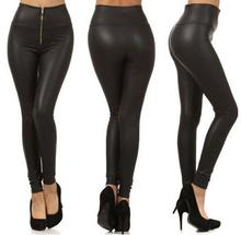 Fashion 2015 Faux Leather Women Lad Girl Leggings Zip Up Patchwork Legging High Waist Elastic Black Skinny pant Plus Size