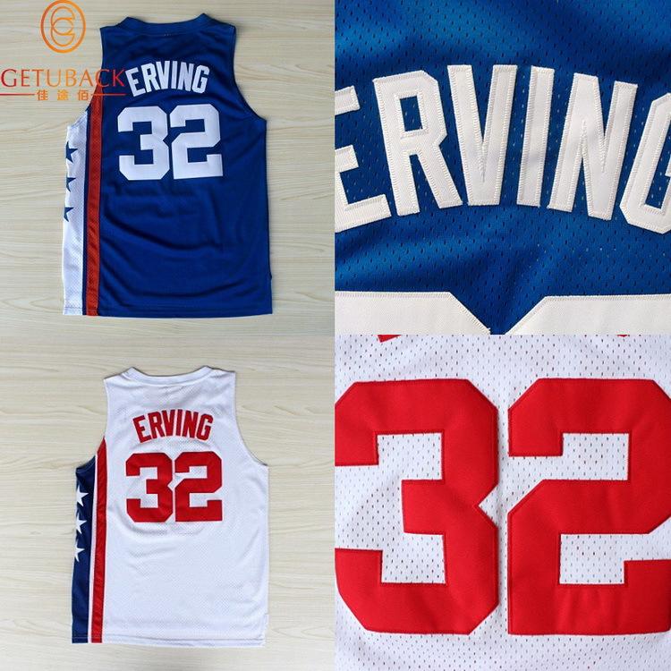 Нью-джерси джулиус ирвинг #32 возврат баскетбол джерси dr j ретро вышивка логотипов кофта синий и белый рукавов na123