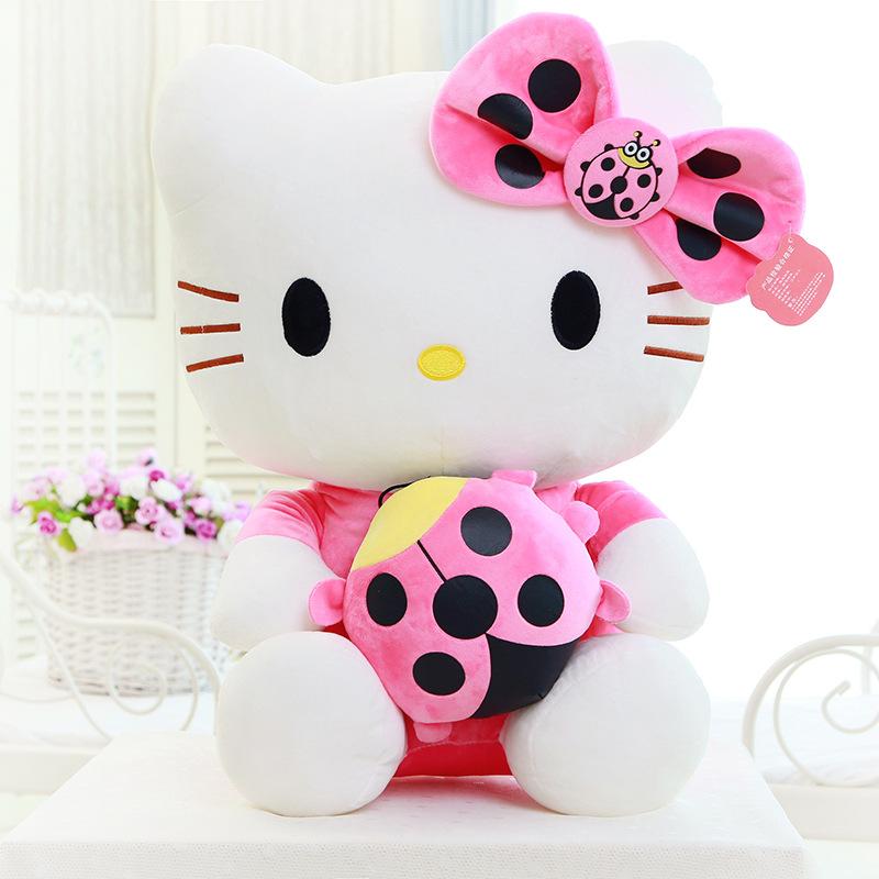 Big Hello Kitty Girl Plush Toys Sitting Height 35 cm Stuffed Animals Doll for Girls Children Kids Christmas Birthday Gift(China (Mainland))