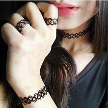 1 Set adjustable Fashion Vintage Stretch Tattoo Choker Necklace Bracelet Retro Gothic Punk Elastic Gift women luxury necklace(China (Mainland))