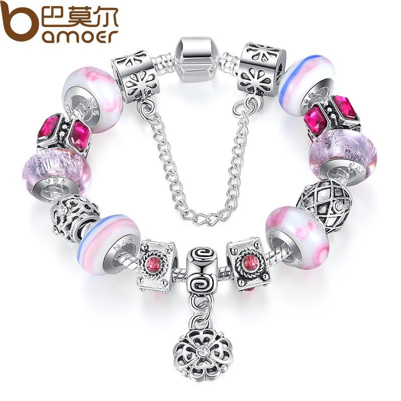 Bamoer New Fashion 925 Silver Charm bracelet for Women DIY Beads fine Jewelry Fit Original Pan Bracelets Pulseira Gfit(China (Mainland))