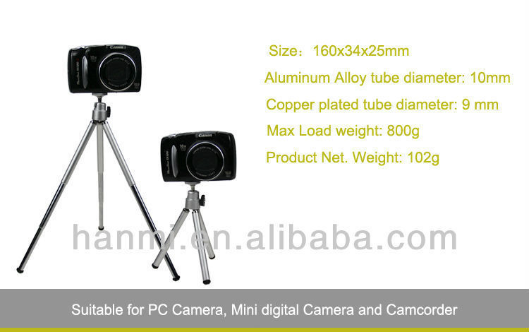 Free Shipping + 3 Sections Metal Copper Tripod for Camera Max Load 1000g(China (Mainland))