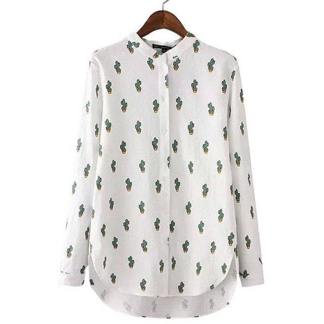 Az132 мода 2016 женщин-корейски кактус печать белый рабочая одежда блузка воротник ...