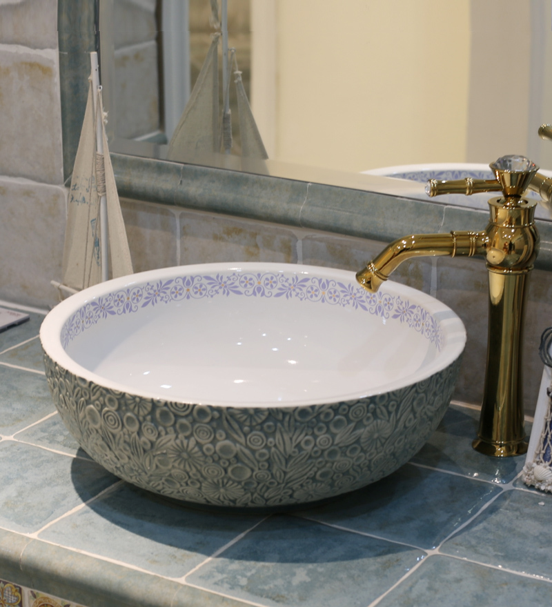 Vessel Style Bathroom Sinks : Style Ceramic Art Basin Sinks Counter Top Wash Basin Bathroom Vessel ...