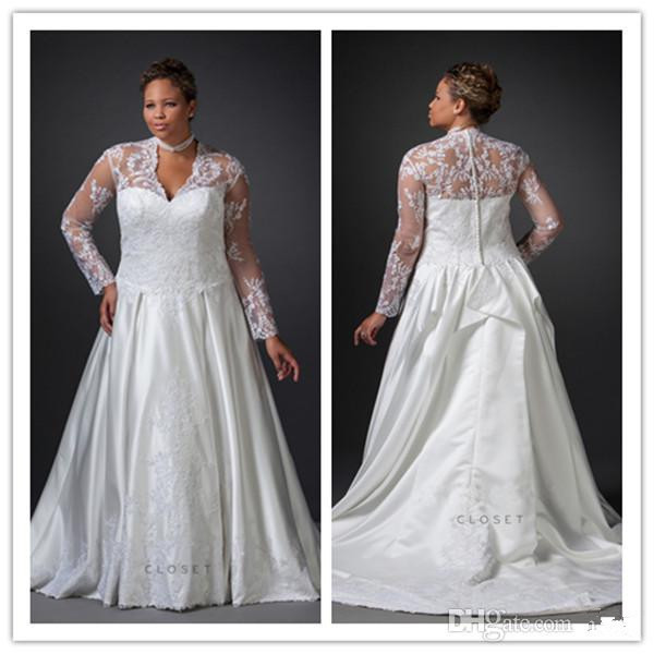 Full figure wedding dresses plus size satin with lace v for Plus size silk wedding dresses