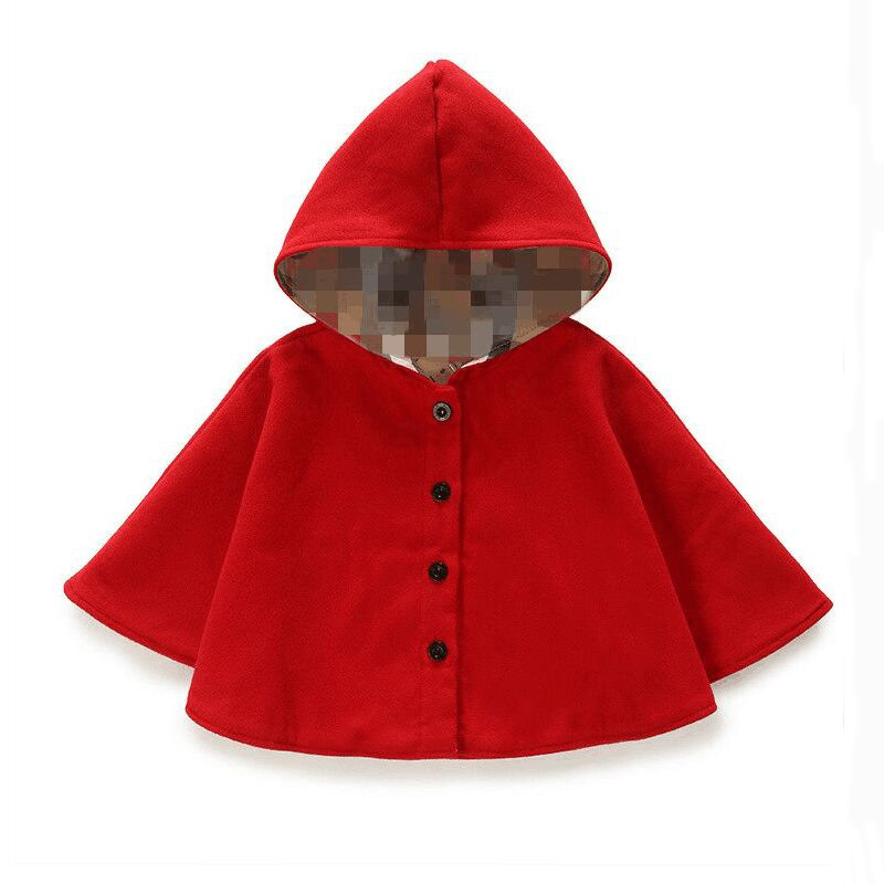 2016 winter spring fashion kids baby cape pattern black red cotton hooded plaid girls Coat jackets baby girl cape cloaks clothes()