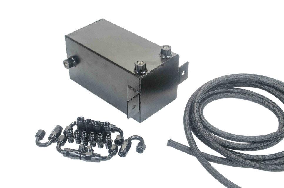 VR RACING-4L Aluminium Surge tank Full BLack  Fuel cell 4L Universal Complete Fuel Surge Tank 4 L Swirl Pot System VR-TK32BK