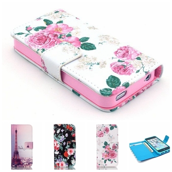 2016 New Fashion Beautiful Rose Flower Tower Flip Leather Wallet Capa Cover Case For Apple iphone 4 4s 5 5s iphone4s 4G 4S Bags