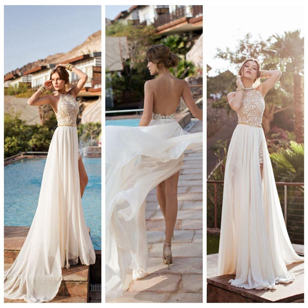 2015 Lace Applique Chiffon Prom Dresses Halter Beaded Crystals Short Side Slit Backless Evening Gowns Summer Beach Dress - GraceBridal store