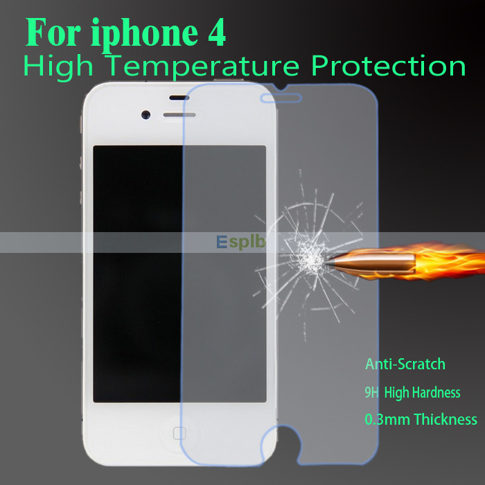 0.3mm Super Thin Premium Tempered Glass Screen Protector Film for iPhone 4 4S + Clean Tool with Strong Box(China (Mainland))
