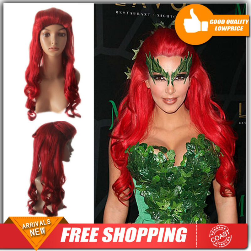 Free shipping Batman Poison Ivy Long Wavy Red Anime Cosplay Hair Wig with Free a wig cap(China (Mainland))