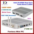 8GB RAM 128G SSD fanless i5 4200u industrial desktop embedded pc Intel HD 4400 Graphics 2
