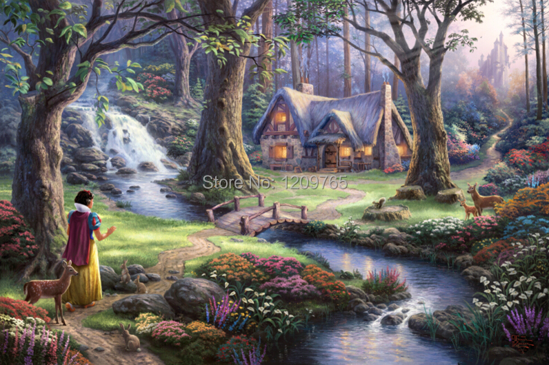 "Free Shipping Thomas Kinkade ""snow white discovers the cottage"" Landscape Wall & Art Decoration 24x36 inch(China (Mainland))"